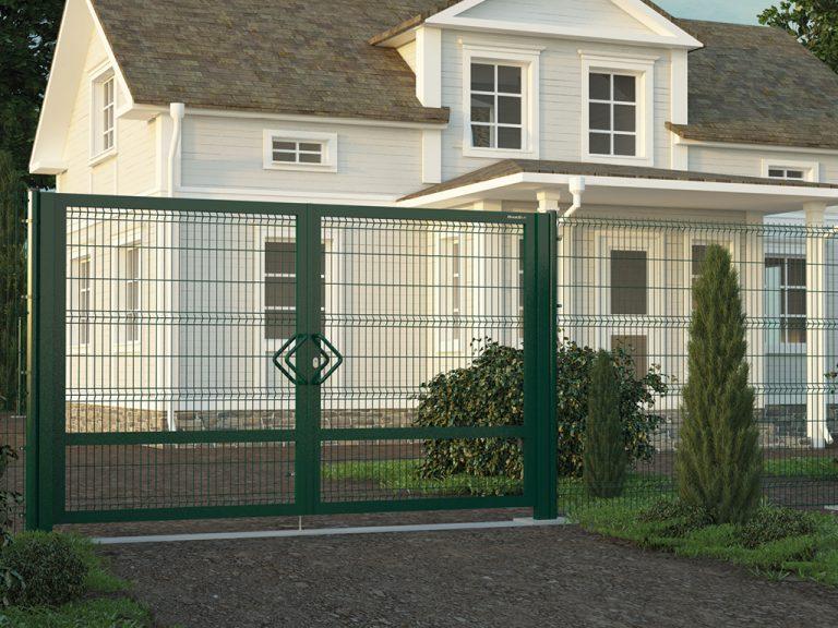 Распашные ворота с узкими столбами
